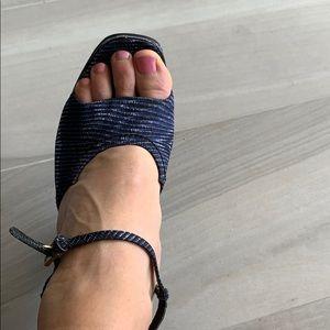 Prada Shoes - Prada blue black white wedges
